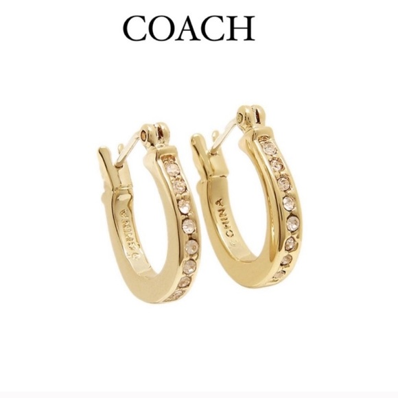 Coach pave signature  huggie earrings